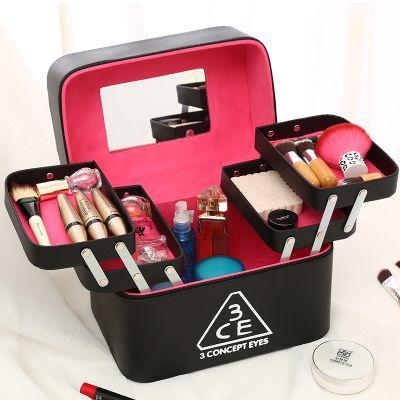 韩版大容量手提化妆箱女旅行化妆包收纳盒简约多层化妆品箱收纳包