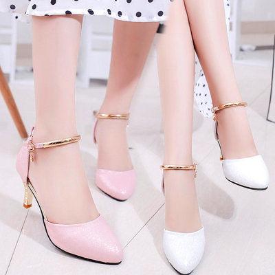 气质凉鞋2020新款夏百搭尖头细跟高跟鞋女士韩版中跟中空单鞋性感