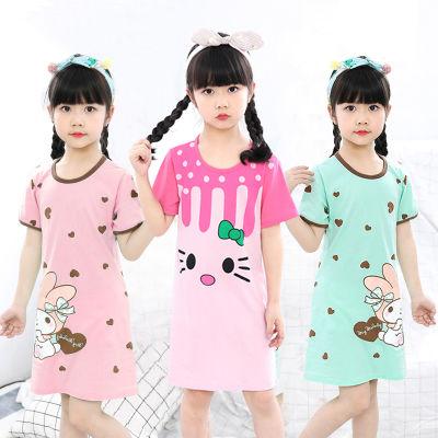 儿童睡衣纯棉女童睡裙夏季薄款短袖连衣裙女孩中大童空调家居服