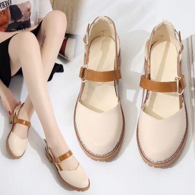 凉鞋女2019新款夏季中跟浅口单鞋女生韩版圆头包头粗跟复古女鞋子