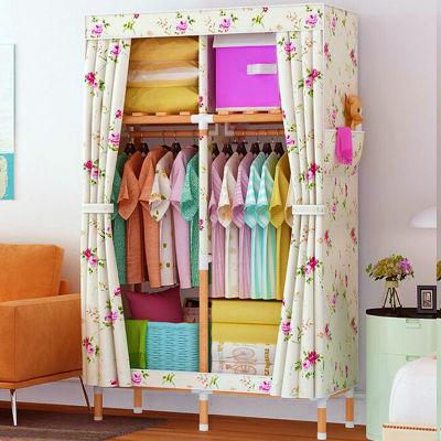 衣柜简易单人学生宿舍布艺收纳架柜子实木家具布衣柜钢管小号衣橱