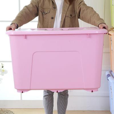 80L-250L 特大号收纳箱塑料棉被衣服储物箱玩具收纳盒滑轮整理箱