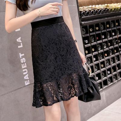 蕾丝半身裙女2020夏新款韩版高腰包臀短裙女春鱼尾裙A字裙小黑裙