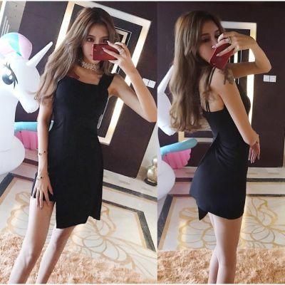 夜店裙子女夏2020新款性感收腰不规则短裙吊带黑色显瘦连衣裙子潮