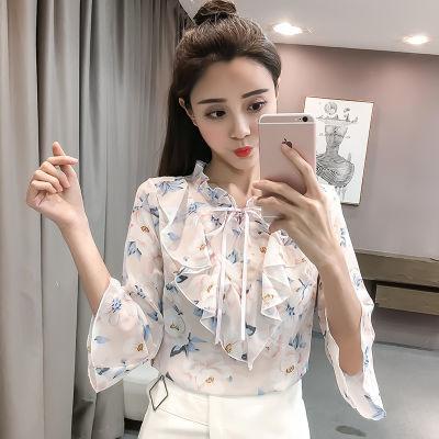 夏季韩版新款碎花雪纺衫短袖女半袖喇叭袖印花宽松打底衫上衣女潮