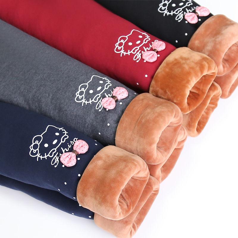 童装女童加绒打底裤冬款儿童长裤子外穿宝宝纯棉三层加厚保暖棉裤