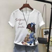 【95%棉超柔软竹节棉】夏装2018女装大码数上衣印花短袖T恤衫女