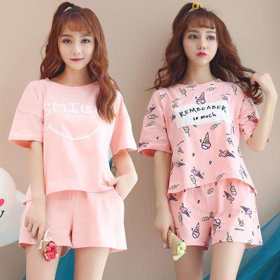 睡衣女夏季短袖两件套装韩版宽松清新学生春夏天可爱可外穿家居服