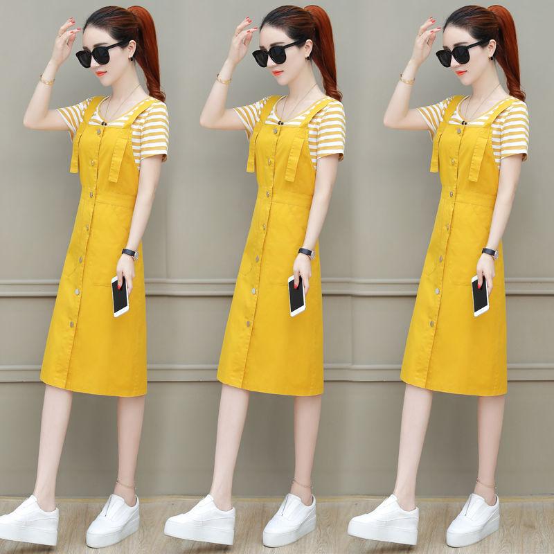 热卖新款吊带长裙子女夏装2021新款小清新背带连衣裙夏季时尚两件