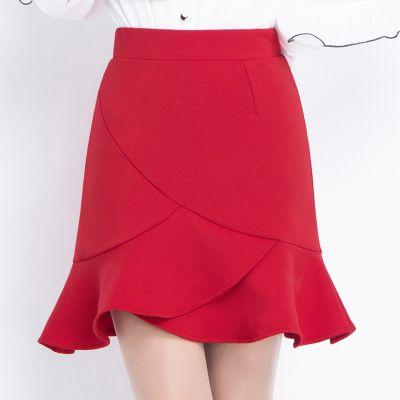 春夏季新款高腰鱼尾裙韩版包臀半身裙2020不规则荷叶边短裙a字裙