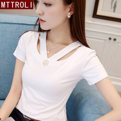 MTTROLI 95%棉T恤女短袖 2020夏季新款 简约修身显瘦V领打底衫女