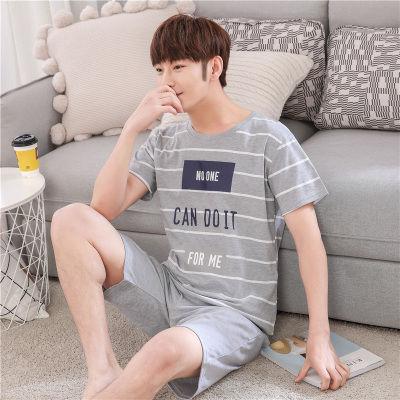 夏季多款优质棉男士睡衣条纹休闲运动外穿家居服短袖背心套装青年