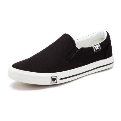正品回力一脚蹬懒人鞋休闲男鞋低帮黑白蓝色帆布鞋女鞋轻便运动鞋