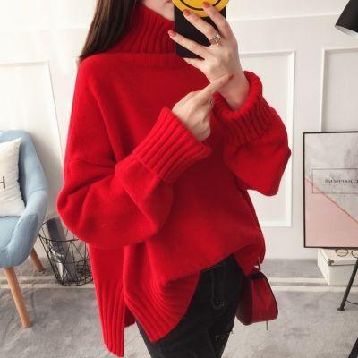 红色高领毛衣女套头加厚秋冬宽松前短后长韩版百搭学生慵懒糖果色