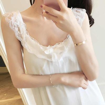 睡衣女夏季性感吊带睡裙甜美公主风韩版清新学生蕾丝带胸垫可外穿