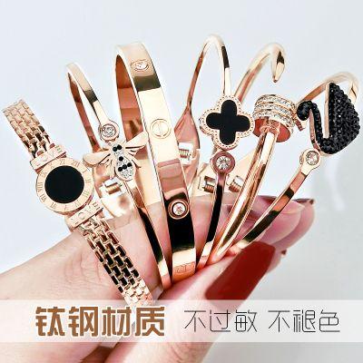 钛钢18K玫瑰金手镯女韩版简约开口不掉色钛钢手镯女情侣手环手链