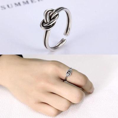 韩版925纯银开口戒指指环绳股麻花编纹绞丝复古素泰银戒指银饰品