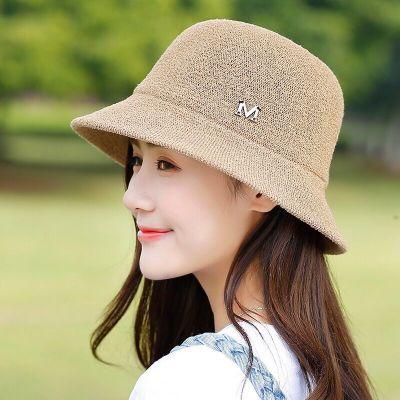 手工盆帽女夏天韩版帽子女百搭户外出游遮阳帽防晒渔夫帽折叠凉帽