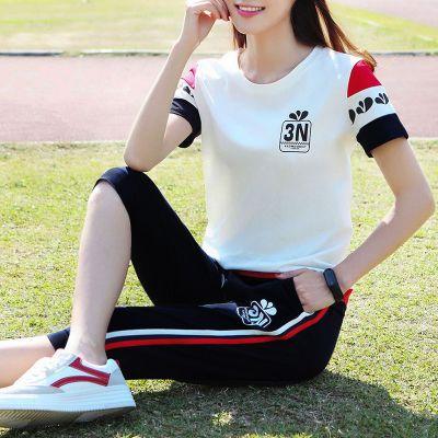 休闲运动服套装女夏季2020新款学生韩版七分裤两件套短袖时尚宽松