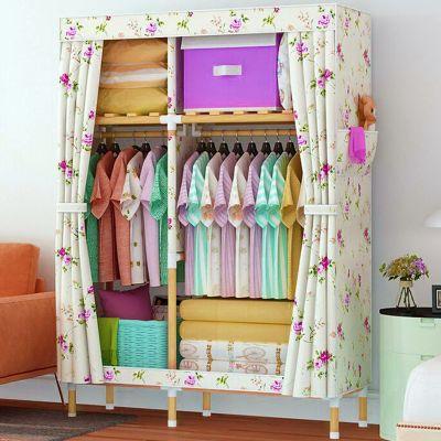 衣柜收纳架实木简易布衣柜木家具收纳柜子布小钢管单人衣橱挂衣柜