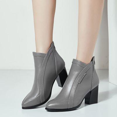 春秋冬季单靴女靴子粗跟短靴女中跟高跟妈妈皮鞋羊毛里马丁靴女鞋