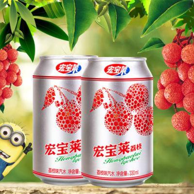 宏宝莱荔枝碳酸饮料330ml*24罐汽水饮料东北网红整箱多规格6罐