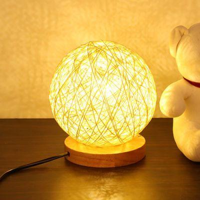 慕唯美式乡村卧室床头台灯现代简约创意麻球台灯北欧田园艺术灯