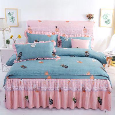 韩版公主风床裙式四件套单双人1.5m蕾丝花边床罩1.8米小碎花被套