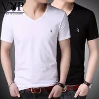 单件/2件 花花公子贵宾男士短袖T恤V领纯色韩版潮流修身男装上衣