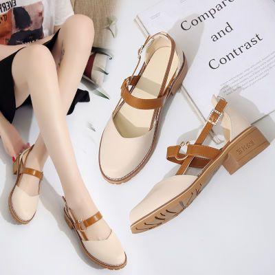 2020春夏季新款凉鞋女韩版百搭浅口单鞋女生圆头中跟包头复古女鞋