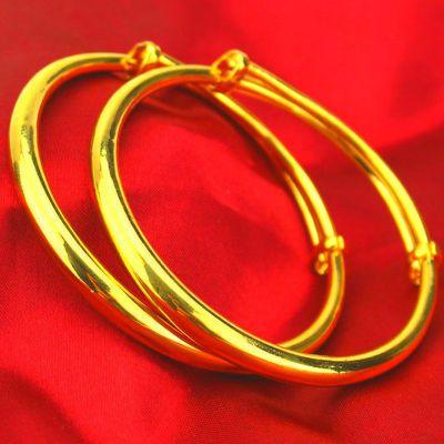 送戒指黄金手镯镀金不褪色越南沙金手镯手链光面欧币金女手镯礼物