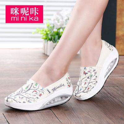 咪呢咔春季新款一脚蹬老北京布鞋女厚底气垫摇摇鞋休闲软底健步鞋