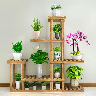 加固实木室内阳台绿萝多肉多层植物花盆架花架子碳化防倾斜包邮