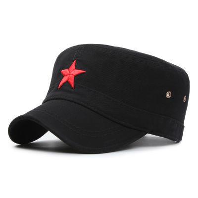 帽子男韩版潮人平顶帽夏户外运动遮阳帽太阳帽时尚英伦红五星军帽