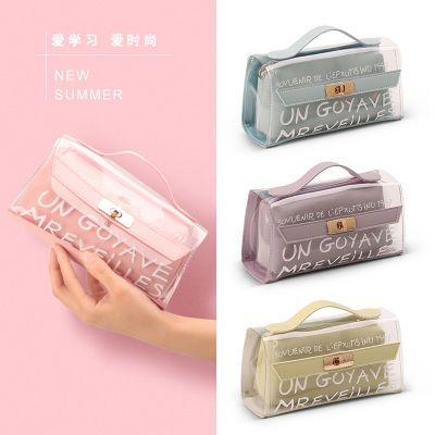 韩版透明笔袋女生文具盒小学生初中生简约小清新儿童可爱铅笔盒女