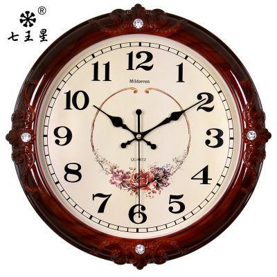 七王星客厅欧式挂钟卧室静音钟表创意田园艺术墙壁挂表电子石英钟