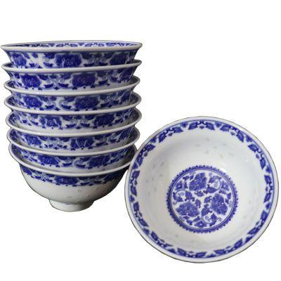 景德镇青花瓷饭碗10只装家用玲珑瓷碗带盖釉下彩碗米饭碗汤碗大码