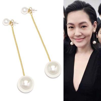 大小珍珠耳环长款韩版饰品个性明星同款耳坠一款两戴耳饰配饰百搭