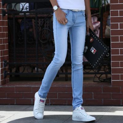 青少年秋夏新款牛仔裤男士弹力修身小脚韩版潮流学生紧身显瘦裤子