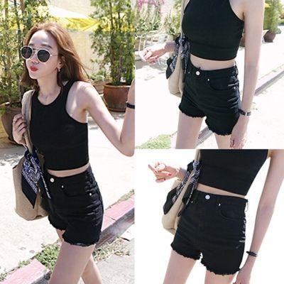 夏季新款韩版黑色牛仔短裤女高腰修身显瘦弹休闲裤白色毛边热裤潮