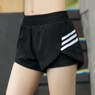 夏季运动短裤女假两件速干防走光跑步训练瑜伽健身透气松紧女短裤
