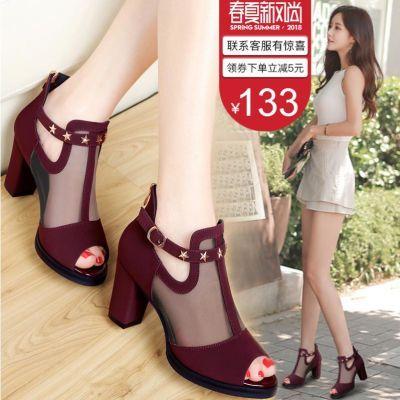 酒红色鱼嘴凉鞋女鞋中跟粗跟罗马女鞋夏季真皮镂空高跟鞋百搭单鞋