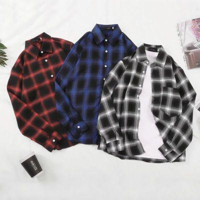 格子衬衫男长袖新款港风秋季情侣学生青少年韩版宽松男士衬衣外套