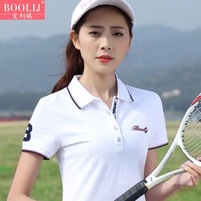 【女装大促】白色短袖t恤女夏季大码翻领上衣宽松休闲运动POLO衫
