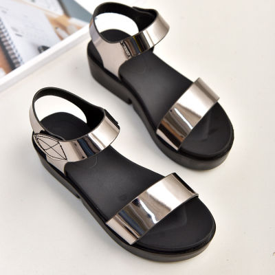 2020夏季一字魔术贴厚底凉鞋女松糕鞋防水台学生女夏平跟平底女鞋