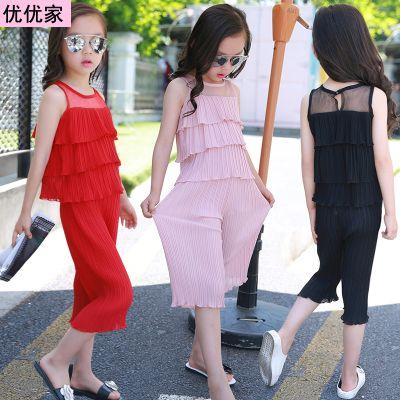 童装女童套装夏季2020新款中大儿童韩版洋气雪纺两件套宽松衣服潮