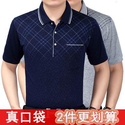 夏季爸爸装中老年人男装短袖t恤宽松翻领polo衫中年男士大码上衣