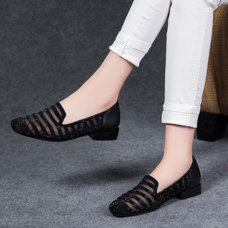 2021新款春夏季网纱方头单鞋女平底粗跟