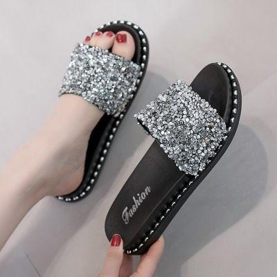 鞋女夏外穿时尚新款韩版百搭亮片凉拖厚底室外一字拖沙滩女鞋