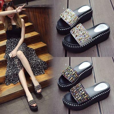 【亏本冲量】松糕厚底水钻拖鞋女夏时尚外穿新款高跟一字凉拖鞋女